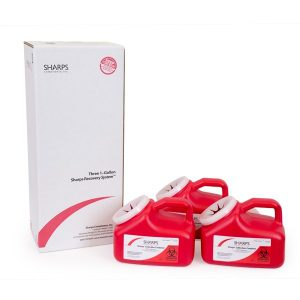 THREE 1-GALLON SHARPS RECOVERY SYSTEM (Case of 6) - SHARPS-11003-006