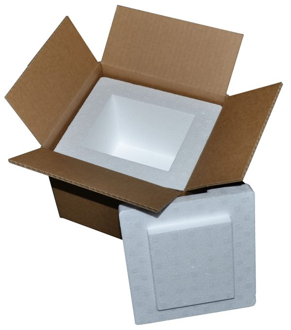 """8 X 7 X 6"""" Insulated Styrofoam Shipping Cooler and Box Kit (1 Cooler)"""