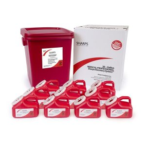 28-GALLON MEDICAL PROFESSIONAL SHARPS RECOVERY SYSTEM WITH TEN 1-GALLON SHARPS COLLECTION CONTAINERS - SHARPS-12810