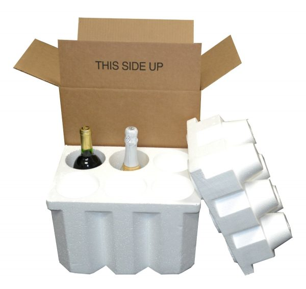 6 Bottle Styrofoam Wine/Champagne Shipping Cooler and Box (1 Set)
