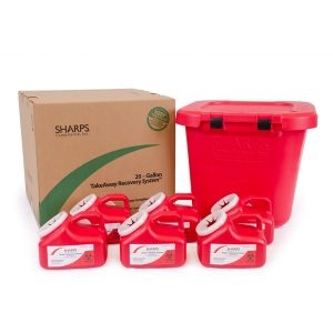 20-GALLON TAKEAWAY RECOVERY SYSTEM WITH SIX 1-GALLON SHARPS CONTAINERS - SHARPS-82610