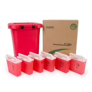 30-GALLON TAKEAWAY RECOVERY SYSTEM WITH SIX COVIDIEN 5-QUART SHARPS CONTAINERS - SHARPS-83061