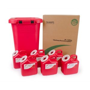 30-GALLON TAKEAWAY RECOVERY SYSTEM WITH SIX 2-GALLON SHARPS CONTAINERS - SHARPS-83062