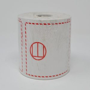 """E Label 4""""X4"""" Butt Cut 185 Red Fade Resistant Ink- (500 Labels/Roll)"""