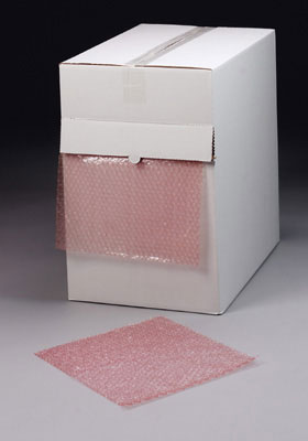 "12"" x 100' Sealed Air® Anti-Static Multi-Purpose Grade Bubble Wrap® Brand Cushioning in a Dispenser Box - Pink Tinted (5/16"")"