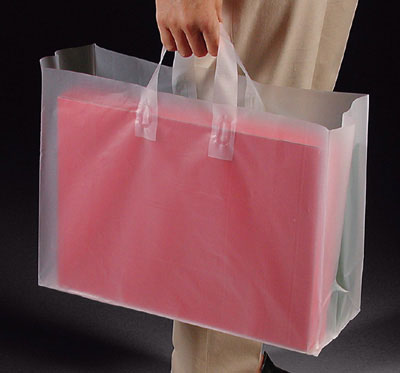 "8"" x 4"" x 7"" High Density Poly Tote Bag with Handles + 4"" Bottom Gusset - Frosted (3 mil)"