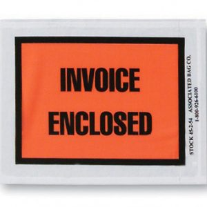 "4-1/2"" x 5-1/2"" Back-Loading Printed Packing List Envelope - ""Invoice Enclosed"""