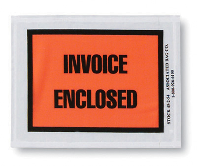 """4-1/2"""" x 5-1/2"""" Back-Loading Printed Packing List Envelope - """"Invoice Enclosed"""""""
