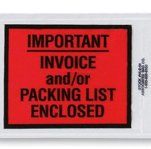 "4-1/2"" x 6"" Back-Loading Printed Packing List Envelope - ""Important…Enclosed"""