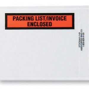"4-1/2"" x 5-1/2"" Back-Loading Printed Packing List Envelope - ""Packing List/Invoice Enclosed"""