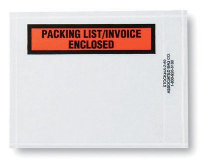 """4-1/2"""" x 5-1/2"""" Back-Loading Printed Packing List Envelope - """"Packing List/Invoice Enclosed"""""""