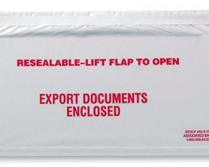 "10"" x 5-1/2"" Front-Loading Printed Packing List Envelope - ""Export Documents Enclosed"""