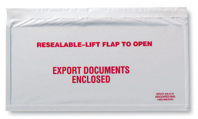"""10"""" x 5-1/2"""" Front-Loading Printed Packing List Envelope - """"Export Documents Enclosed"""""""