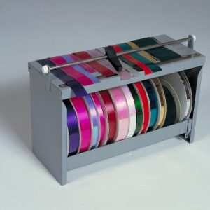 """Deluxe Ribbon Roll Dispenser Rack with Cutter - Rolls up to 9"""" - Bulman-M761R"""