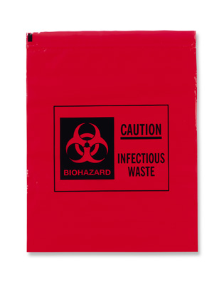 "10"" x 12"" Infectious Waste/Biohazard Transport Poly Bag  - Red (2 mil)"