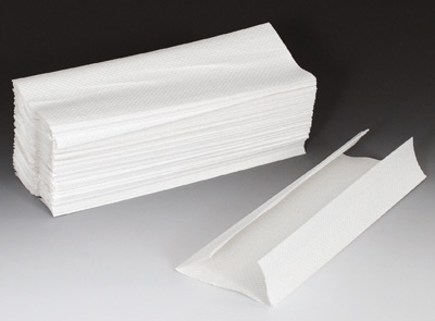 """10-1/4"""" x 13"""" C-Fold Paper Towels - White (200 Towels per Package; 12 Packages per Carton)"""