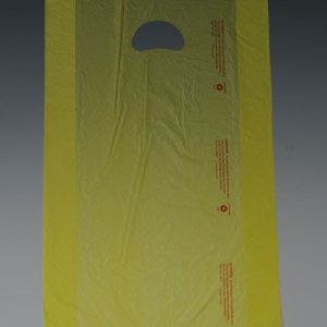 "12"" x 3"" x 18"" High Density Embossed Gusseted Merchandise Bag with Die-Cut Handle - Yellow (.7 mil)"