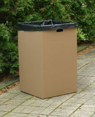 "18"" x 18"" x 30"" Corrugated Trash Container - Kraft (200-lb. Test / 32-lb. ECT)"