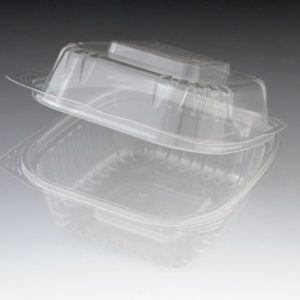 "6"" x 6"" x 3"" Compostable PLA Clamshell Food Container - Clear (1-Compartment) (240 Containers) - AB-310-12-30"