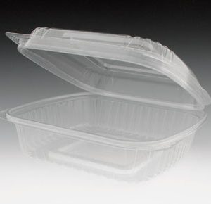 "8"" x 8"" x 3"" Compostable PLA Clamshell Food Container - Clear (1-Compartment) (160 Containers) - AB-310-12-32"
