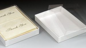 "7-3/8"" x 5-3/8"" x 1"" Stationery Gift Box - White Swirl"