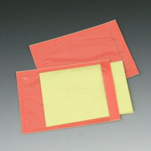 "4-1/2"" x 6"" Back-Loading Packing List Envelope with Clear Front and Salmon Back"