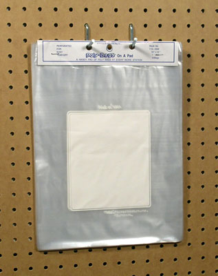 "10"" x 12"" Write-on® Flat Poly Bag - Perforated on a Pad (1.5 mil) (50 Bags per Pad; 10 Pads per Bundle)"