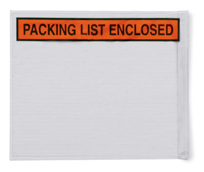 """10"""" x 12"""" Back-Loading Printed Packing List Envelope - """"Packing List Enclosed"""""""