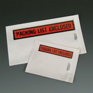 "4-1/2"" x 5-1/2"" High Tack Back-Loading Printed Packing List Envelope - ""Packing List Enclosed"""