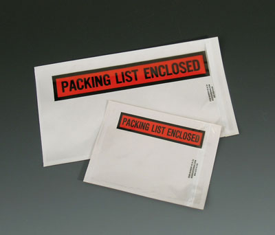 """4-1/2"""" x 5-1/2"""" High Tack Back-Loading Printed Packing List Envelope - """"Packing List Enclosed"""""""