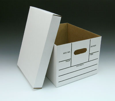 "15"" x 12"" x 10"" Printed File Storage Box with Lid - White (200-lb. Test / 32-lb. ECT)"