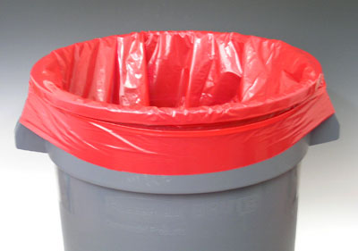 """12"""" x 8"""" x 21"""" Low Density Gusseted Poly Liner - Red (1 mil)"""