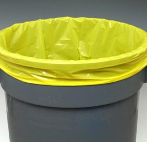 """12"""" x 8"""" x 21"""" Low Density Gusseted Poly Liner - Yellow (2 mil)"""