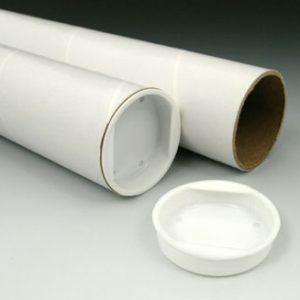 """2"""" x 18"""" White Laminated Mailing Tubes with Caps Retail (6 Mailing Tubes)"""