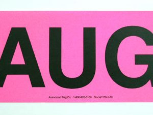 """3"""" x 2"""" Monthly Fluorescent Colored Yellow Inventory Labels - """"AUG"""" (500 Labels)"""