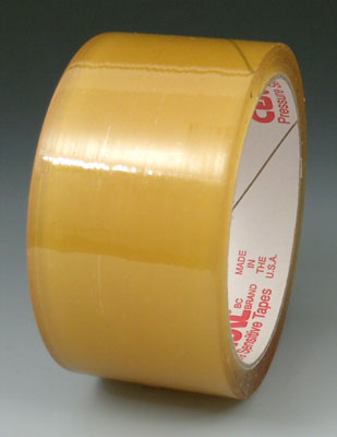 "2"" x 165' Natural Rubber Adhesive Carton Sealing Tape - Clear (1.6 mil)"