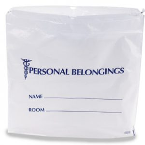 "20"" x 20"" Personal Belongings Poly Tote Bag with Single Drawstring and 3"" Bottom Gusset (2 mil)"