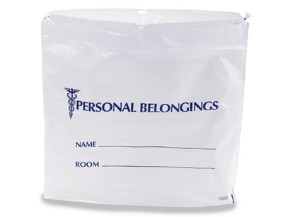 """20"""" x 20"""" Personal Belongings Poly Tote Bag with Single Drawstring and 3"""" Bottom Gusset (2 mil)"""
