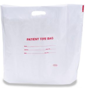 "20"" x 19"" Patient Poly Tote Bag with Die-Cut Handle + 4"" Bottom Gusset (2 mil)"