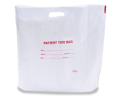 """20"""" x 19"""" Patient Poly Tote Bag with Die-Cut Handle + 4"""" Bottom Gusset (2 mil)"""