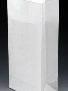 """3-3/8"""" x 2-1/2"""" x 7-3/4"""" Poly-Lined Gusseted Paper Bag with Tabs - White (50 lb.)"""
