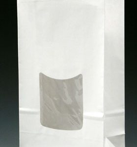 "6"" x 2-3/4"" x 9-1/2"" Poly-Lined Gusseted Paper Bag with Tabs & Window - White (50 lb.)"