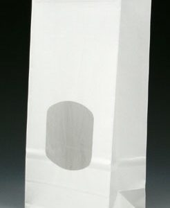 """4-3/4"""" x 2-1/2"""" x 9-1/2"""" Poly-Lined Gusseted Paper Bag with Tabs & Window - White (50 lb.)"""