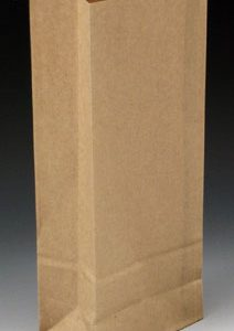 """3-3/8"""" x 2-1/2"""" x 7-3/4"""" Poly-Lined Gusseted Paper Bag with Tabs - Kraft (50 lb.)"""