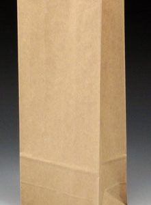"""4-3/4"""" x 3-1/4"""" x 11-1/2"""" Poly-Lined Gusseted Paper Bag without Tabs - Kraft (50 lb.)"""