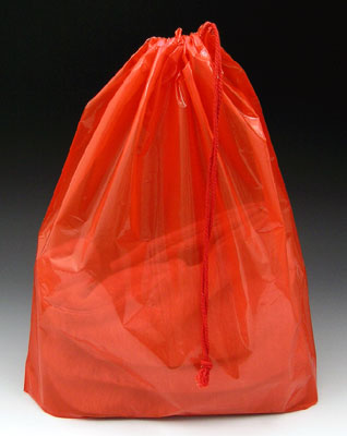 """16"""" x 18"""" Poly Bag with Single Drawstring + 3"""" Bottom Gusset - Red (2 mil)"""