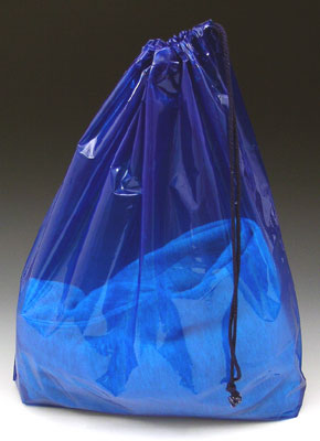 """16"""" x 18"""" Poly Bag with Single Drawstring + 3"""" Bottom Gusset - Blue (2 mil)"""