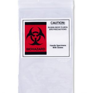"6"" x 9-1/2"" Specimen Zipper Bag with Pouch and Biohazard Message (2 mil)"