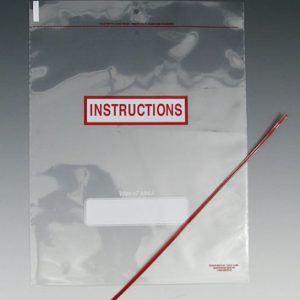 """6"""" x 10"""" Twin Hole Tie-on Bag with """"Instructions"""", Write-on® Area & Plastic Covered Tie (4 mil)"""