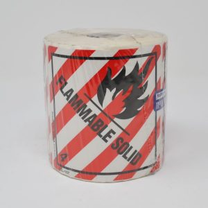 100mm X 100mm Flammable Solid Red & White Stripes W/Blk Text Class 4 - (500 Labels/Roll)